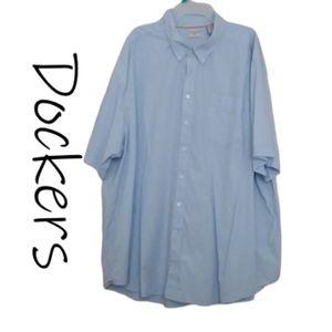 Blue Checkered Short Sleeve Dockers Dress Shirt